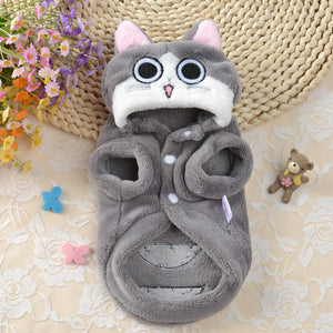 Happy Gray Cat Cute Winter Costume for Dog - Woof Apparel