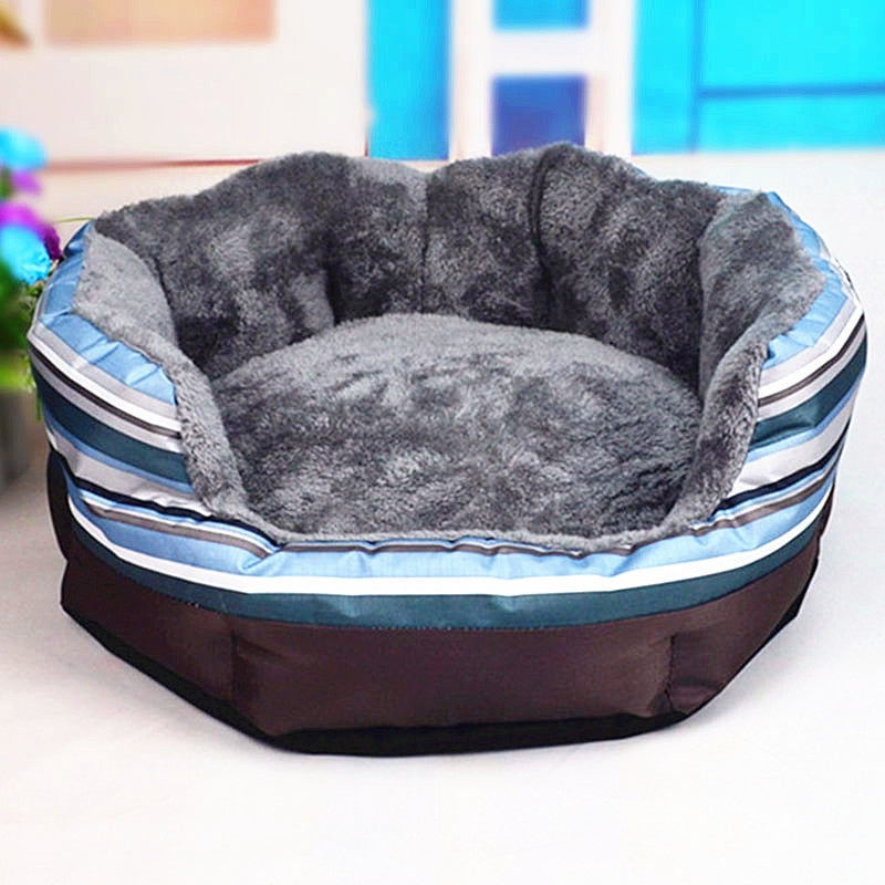Comfy Striped Design Warm Cotton Round Dog Sofa Bed - Woof Apparel