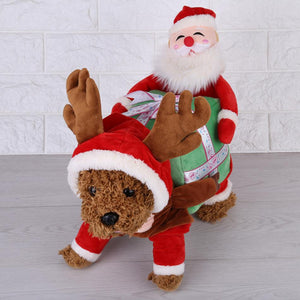 Santa Claus Rider Reindeer Red Holiday Costume For Dogs - Woof Apparel