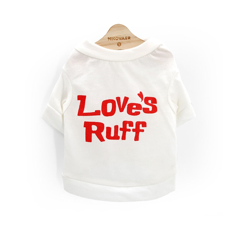 Adorable Love's Ruff Spring Outdoor White Puppy Shirt - Woof Apparel