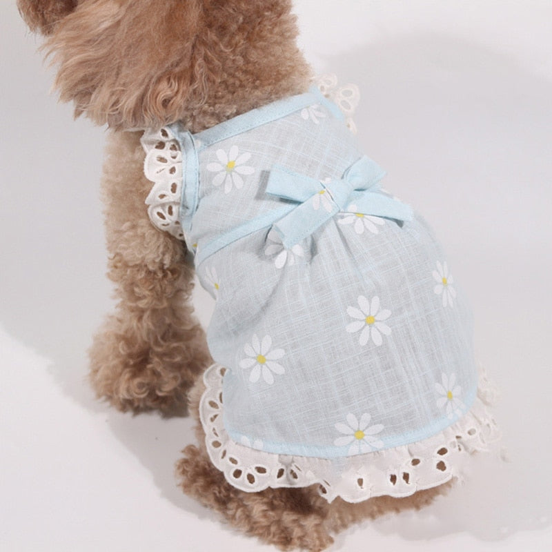 Lovely Daisy Flower Pattern Ribbon Summer Dog Dress - Woof Apparel