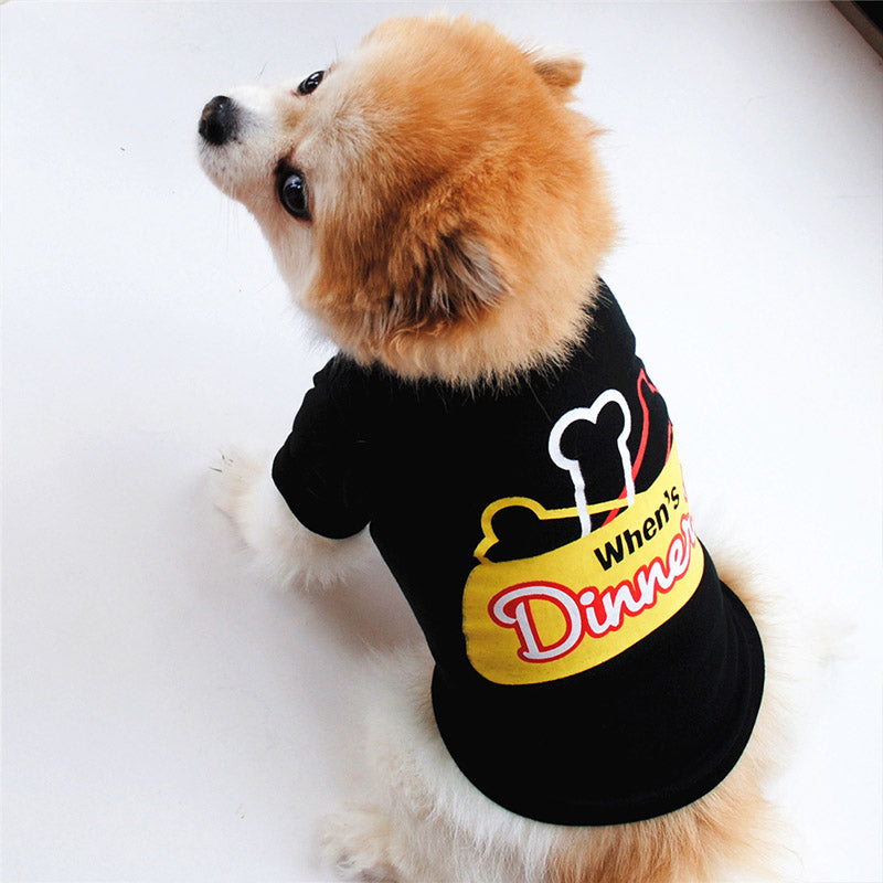When's Dinner Dogs Platter With Bones Small Dog Shirt