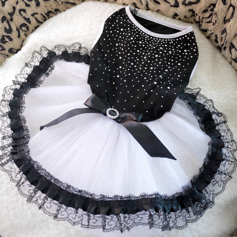 Adorable Black White Sequence Tulle Skirt Small Dog Dress - Woof Apparel