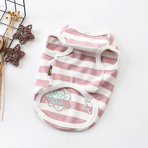 Cute Star Cloud Embroid Stripe Summer Cotton Dog Shirt - Woof Apparel
