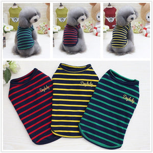 Adorable Striped Color Summer Clothes Small Dog Shirt - Woof Apparel