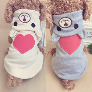 Adorable Bear Big Heart Embroid Design Small Dog Hoodie - Woof Apparel