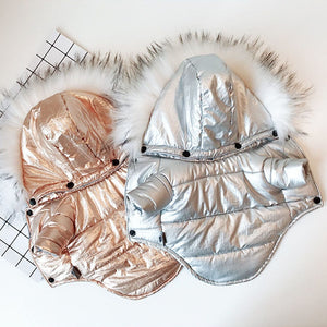 Awesome Shiny Warm Winter Fur Collar Coat Puppy Jacket - Woof Apparel