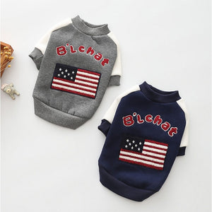 Cute USA Flag Design Warm Thick Coat Puppy Sweatshirt - Woof Apparel