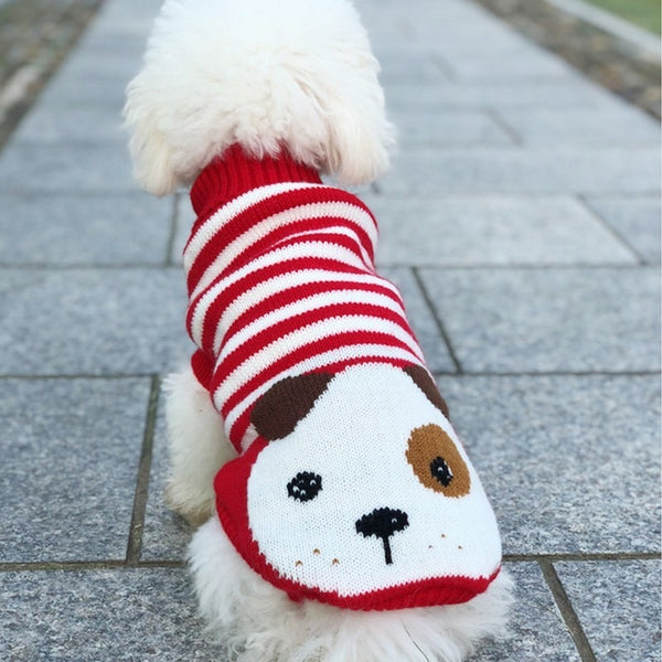 Cartoon Dog Red Striped Knitted Crochet Puppy Sweater Woof Apparel