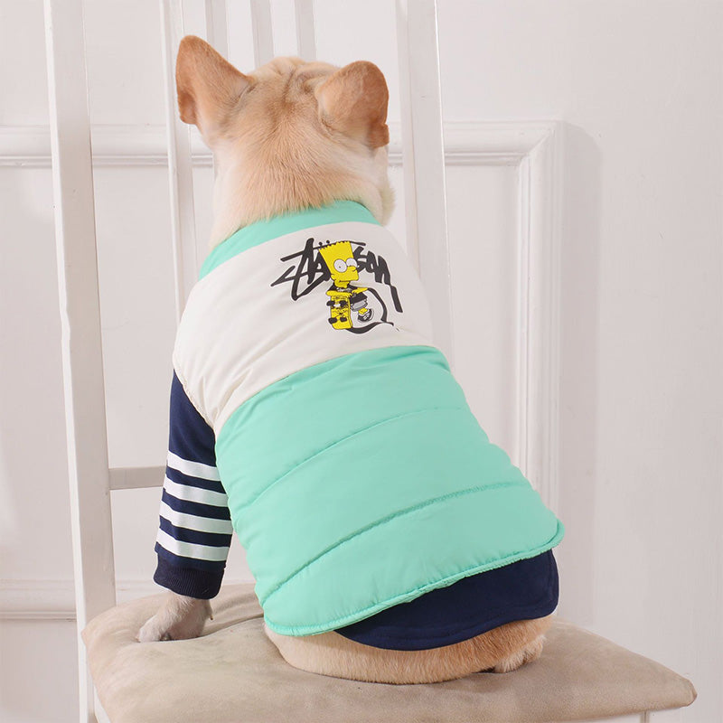 Cute Bart Simpson Cartoon Design Warm Puppy Jacket - Woof Apparel