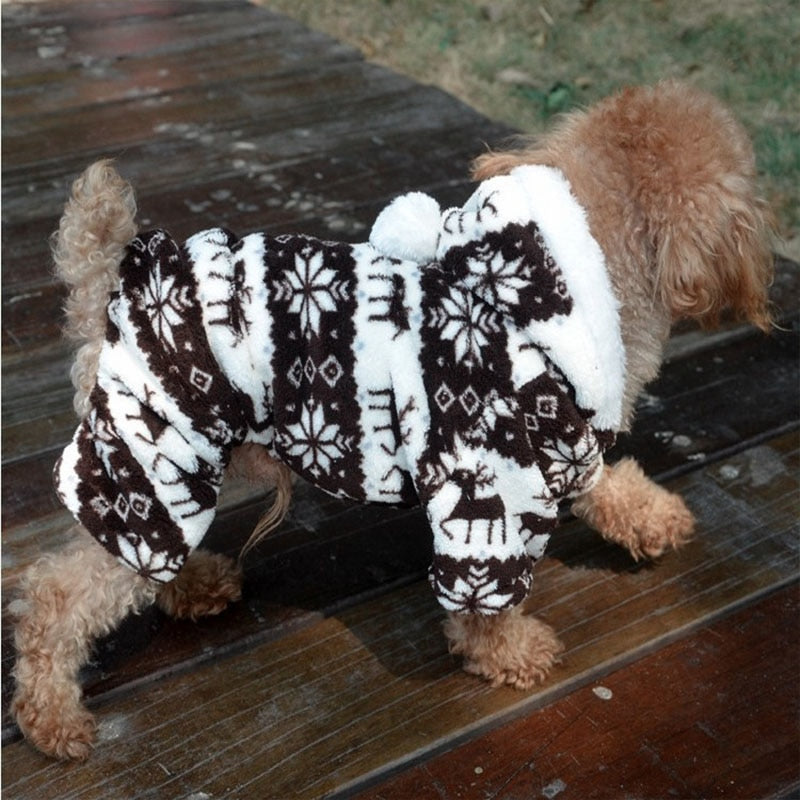 Snowflake Fleece Coral Velvet Deer Pattern Puppy Hoodie - Woof Apparel