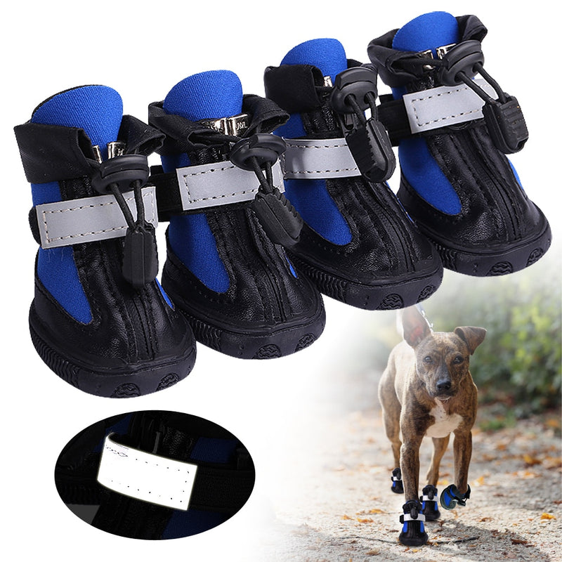 Blue Non-Slip Winter Reflective Boots Big Dog Shoes - Woof Apparel