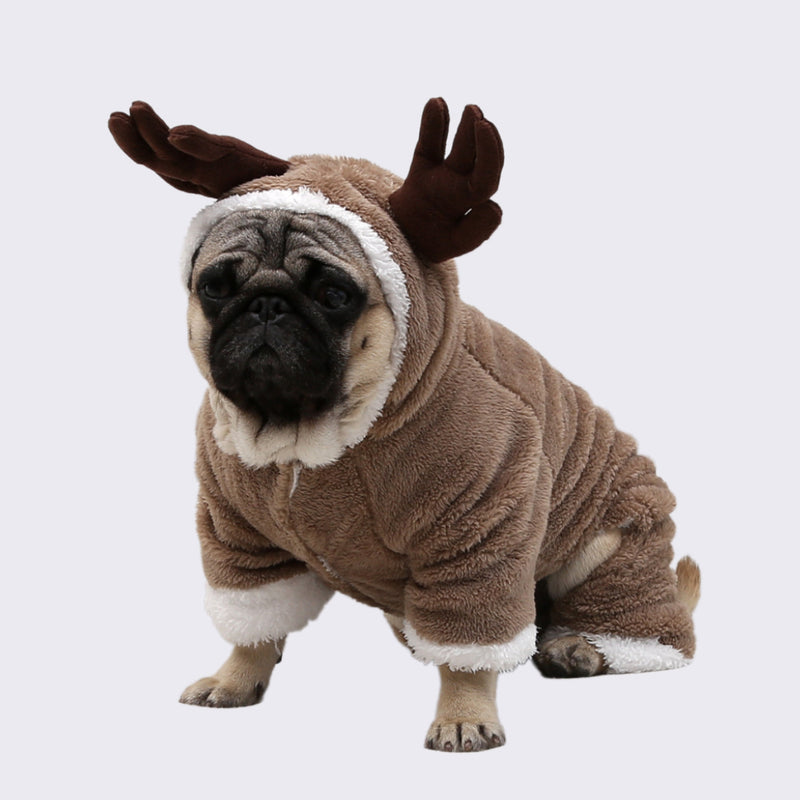 Deer Elk with Antlers Thick Fleece Winter Costume for Dog - Woof Apparel