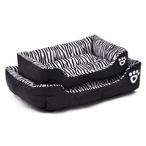 Rectangular Zebra Design Waterproof Oxford Bottom Dog Bed - Woof Apparel