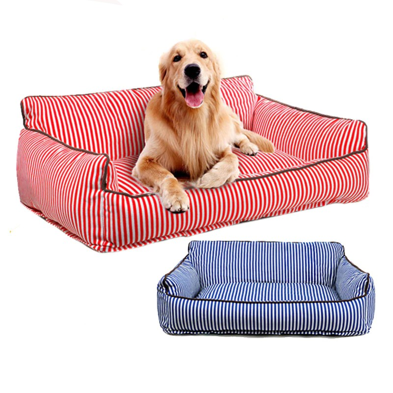 Striped Rectangular Cushion Type Washable Dog Sofa Bed - Woof Apparel
