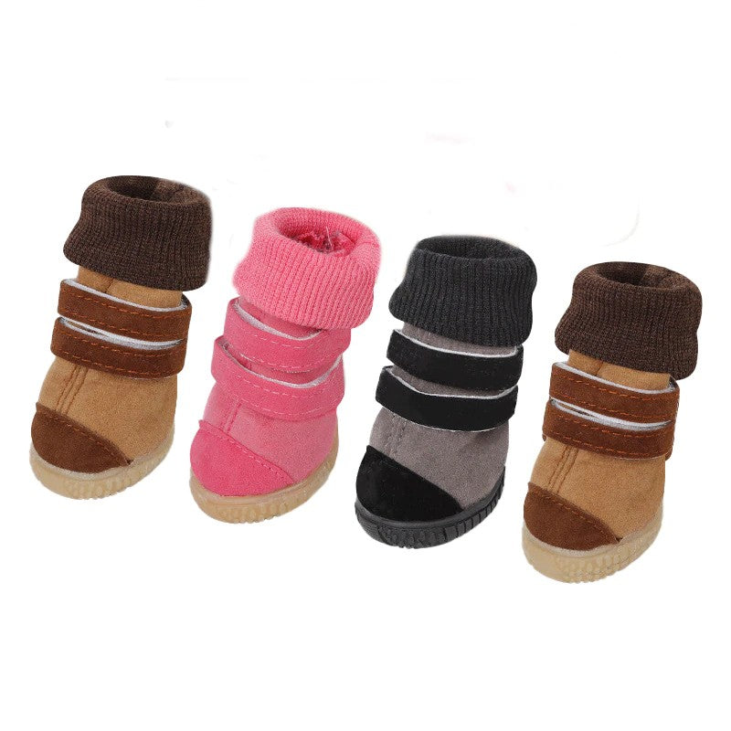 Cotton Fleece Strip Lock Autumn Winter Boots Dog Shoes - Woof Apparel