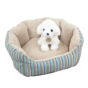 Adorable Stripe Round Fleece Warm Puppy Nest Dog Bed - Woof Apparel