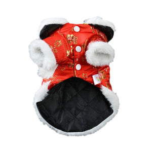 Red Chinese Costume With Flower Designs For Your Dogs - Woof Apparel