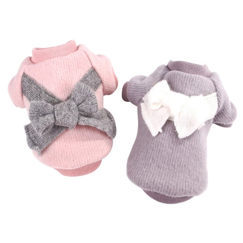 Adorable Bow Ribbon Soft Winter Sweatshirt For Small Dogs - Woof Apparel