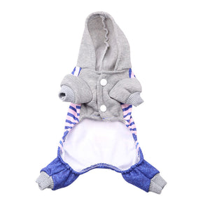 Sporty Cat Character Hoodie Warm Jumpsuit For Dogs - Woof Apparel