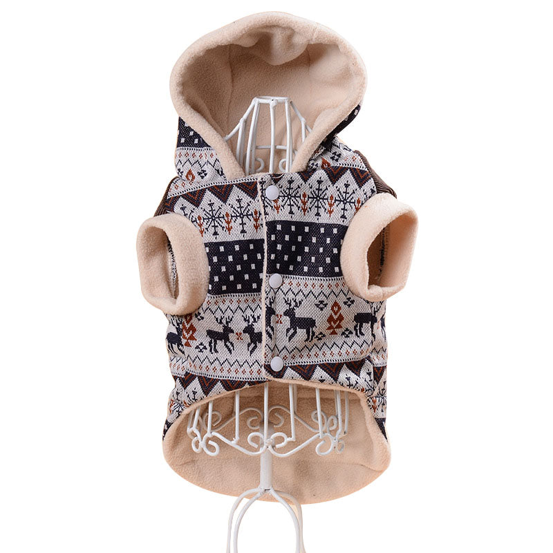 Cute Reindeer Snow Holiday Winter Dog Coat For Small Dogs - Woof Apparel