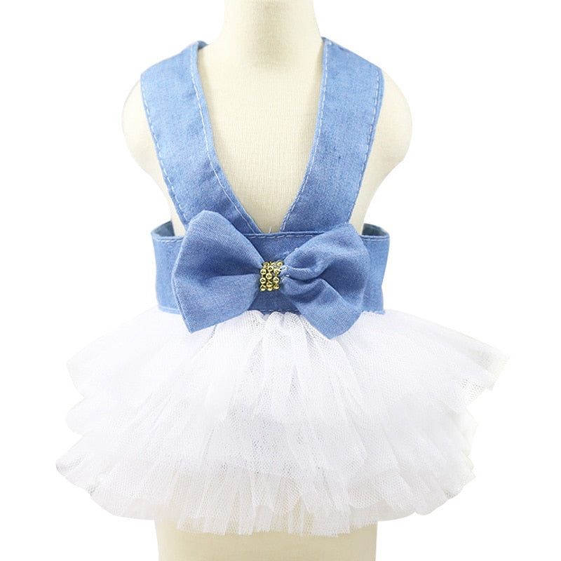 Ribbon Jeans Princess Mesh Tutu Skirt Summer Dog Dress - Woof Apparel