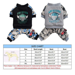 Cute Gray Black Winter Dog Camo Jumpsuit For Small Dogs - Woof Apparel