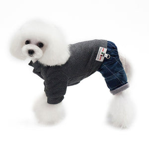 Soft Dog Jumpsuit Winter Dog Clothes Fleece Lining Romper - Woof Apparel