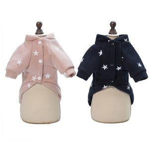 Cute Star Pattern Print Warm Winter Jacket For Dogs - Woof Apparel