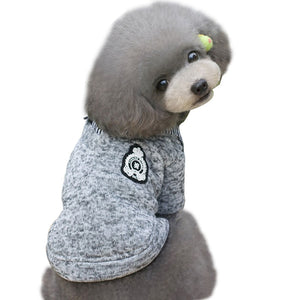 Blue Gray Warm Pet Dog Winter Clothes Sweater for Small Dogs - Woof Apparel