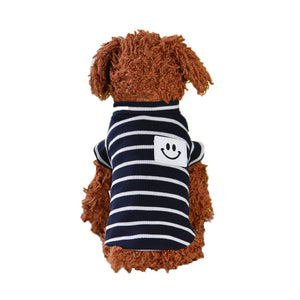 Smiley Patch Stripe Couple Navy Blue Small Dog Shirt - Woof Apparel