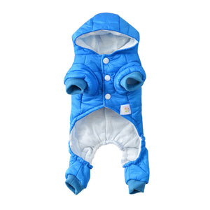 Soft Hooded Winter Jumpsuit With Patch For Small Dogs - Woof Apparel