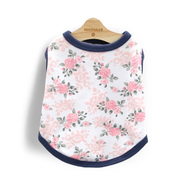 Rose Floral Pattern With Blue Lining Summer Puppy Shirt - Woof Apparel