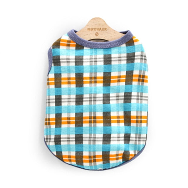 Cool Checkered Soft Summer Clothes Small Dog Shirt - Woof Apparel
