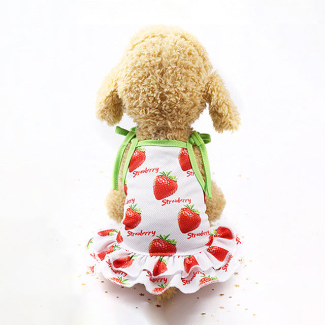 Sweet Strawberry Pattern Spaghetti Strap Puppy Dress