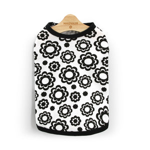 Black Flower Pattern Cotton White Spring Puppy Shirt - Woof Apparel