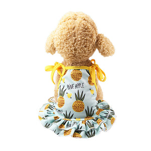 Lovely Pineapple Print Spaghetti Strap Small Dog Dress - Woof Apparel
