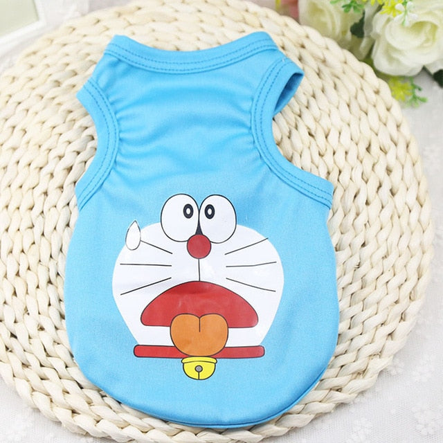 Doraemon Tired Face Tongue Out Spring Blue Puppy Shirt - Woof Apparel