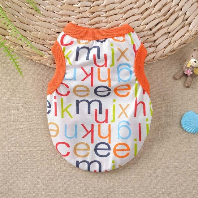 Cute Alphabet Letter Print Summer Small Dog Tank Top - Woof Apparel