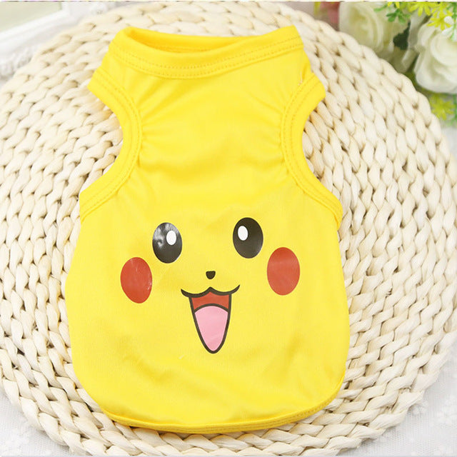Happy Pikachu Face Summer Outfit Yellow Puppy Shirt - Woof Apparel
