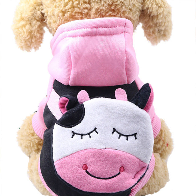 Cute Cartoon Cow Pocket Warm Fleece Lining Hoodie For Dogs - Woof Apparel