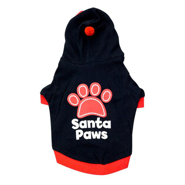 Santa Paws Festive Autumn Winter Hoodie For Small Dog - Woof Apparel