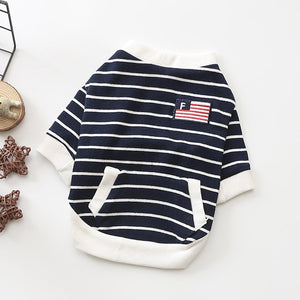 Cute Striped Cotton Coat With Pocket Puppy Sweatshirt - Woof Apparel