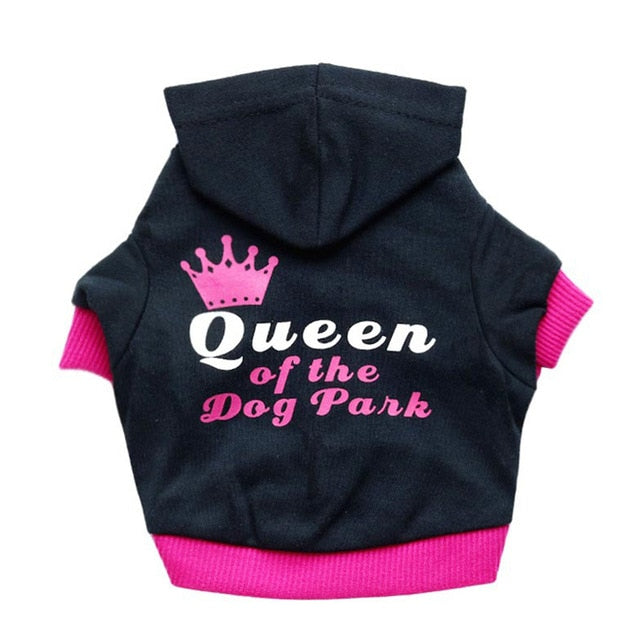Fashion Crown Queen Soft Cotton Winter Hoodie For Small Dogs - Woof Apparel