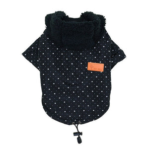 Cute Pattern Fur Colar Fashion Winter Jacket For Small Dogs - Woof Apparel