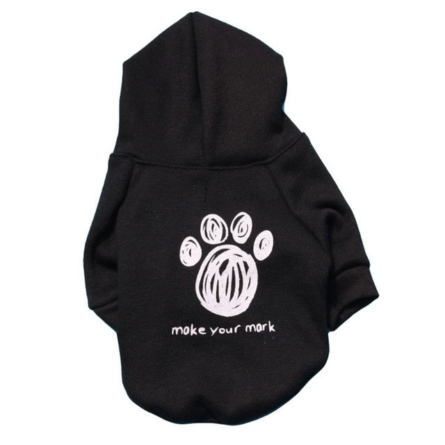 Fashion Black Dog Paw Print Small Dog Hoodie Jacket - Woof Apparel