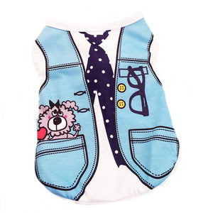 Blue Polka Tie And Vest Design Spring Small Dog Shirt - Woof Apparel