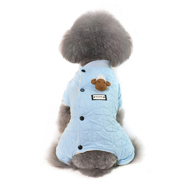 Fluffy Sheep Star Pattern With Soft Fleece Lining Jumpsuit - Woof Apparel