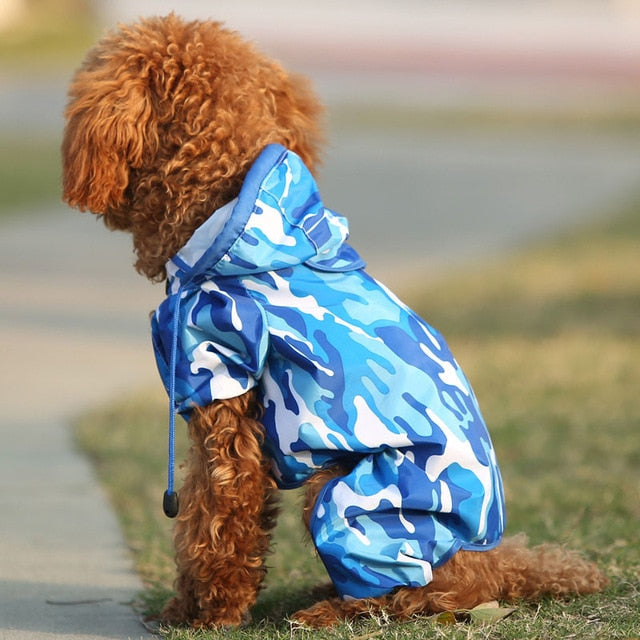 Blue Camouflage Fashion Waterproof Raincoat for Small Dogs - Woof Apparel
