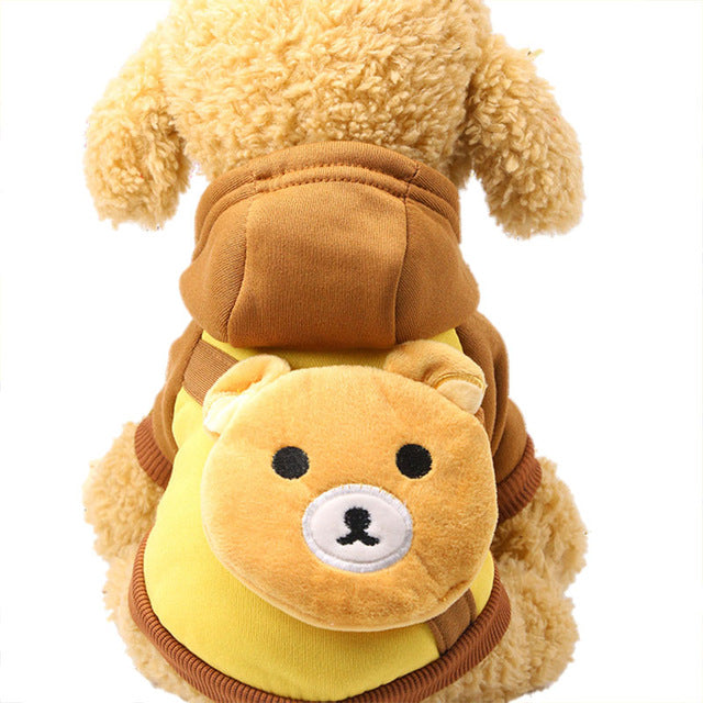 Cute Cartoon Bear Pocket Warm Fleece Lining Hoodie For Dogs - Woof Apparel